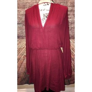 Free People | burgundy open back deep plunge dress